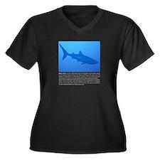 Whale Shark Women's Plus Size V-Neck Dark T-Shirt