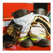 """Fireman's boots and gato Square Car Magnet 3"""" x 3"""""""