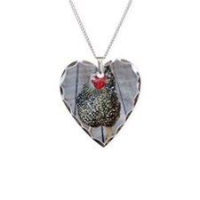 Chicken on wood deck, Silver  Necklace