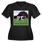 Cow Country Women's Plus Size V-Neck Dark T-Shirt