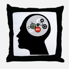 AFC/HUB White Gear Head Outline Logo Throw Pillow
