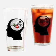 AFC/HUB White Gear Head Outline Log Drinking Glass