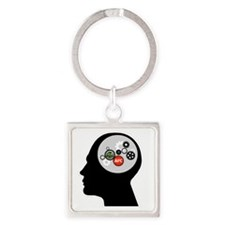AFC/HUB White Gear Head Outline Lo Square Keychain