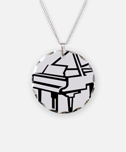 Piano Necklace Circle Charm