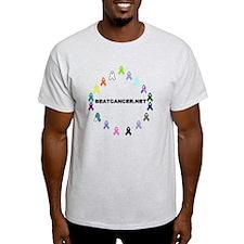 White BEATCANCER.NET Logo T-Shirt