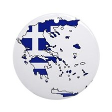 Greek Flag Map Round Ornament