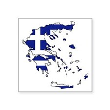 "Greek Flag Map Square Sticker 3"" x 3"""