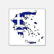 "Greek Flag Map Square Sticker 3"" x 3"""