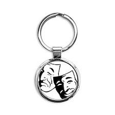 Comedy/Tragedy Masks Round Keychain
