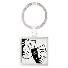 Comedy/Tragedy Masks Square Keychain
