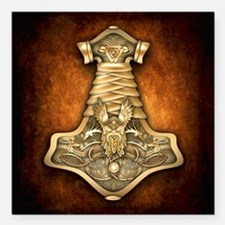 "Gold Thors Hammer Square Car Magnet 3"" x 3"""