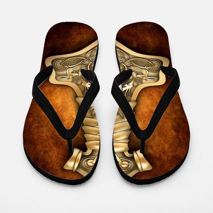 Gold Thors Hammer Flip Flops