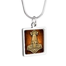 Gold Thors Hammer Silver Square Necklace