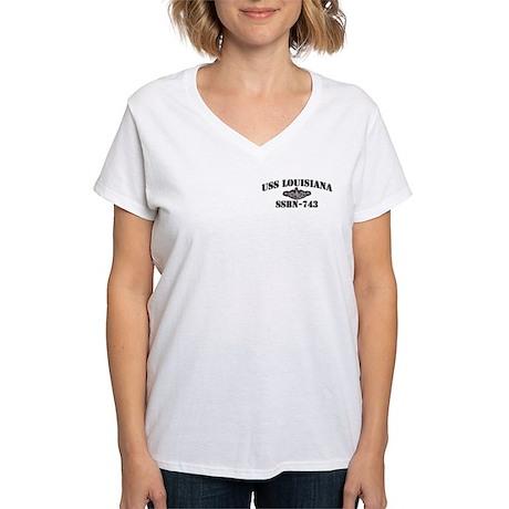 USS LOUISIANA Women's V-Neck T-Shirt