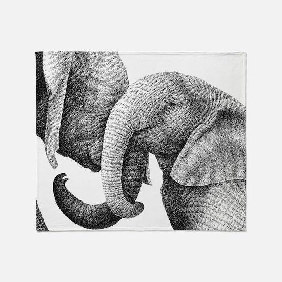 African Elephants Bucket Bag Throw Blanket