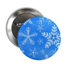 """Blue and White Snowflake Pattern 2.25"""" Button"""