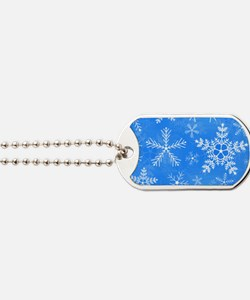 Blue and White Snowflake Pattern Dog Tags