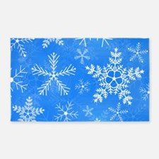 Blue and White Snowflake Pattern 3'x5' Area Rug