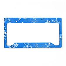 Blue and White Snowflake Patt License Plate Holder