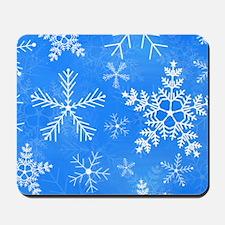 Blue and White Snowflake Pattern Mousepad