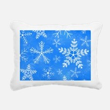 Blue and White Snowflake Rectangular Canvas Pillow