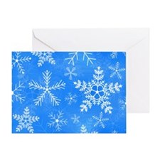 Blue and White Snowflake Pattern Greeting Card