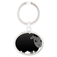 black sheep Oval Keychain