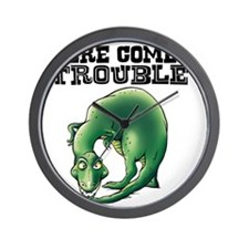 Here Comes Trouble Dinosaur Wall Clock