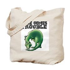 Here Comes Trouble Dinosaur Tote Bag