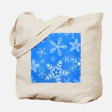 Blue and White Snowflake Pattern Tote Bag