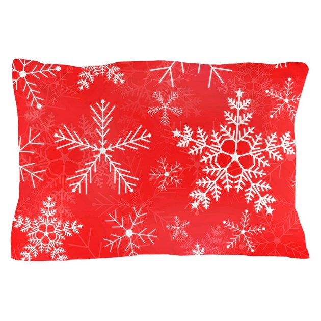 Red and white snowflake pattern pillow case by admin for White craft pillow cases