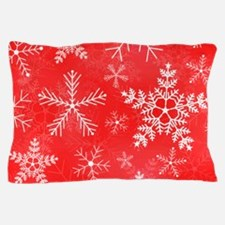 Red and White Snowflake Pattern Pillow Case