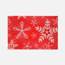 Red and White Snowflake Pattern Rectangle Magnet
