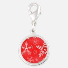 Red and White Snowflake Patter Silver Round Charm