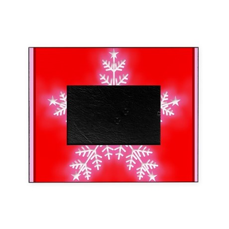 Red and White Star Snowflake Picture Frame