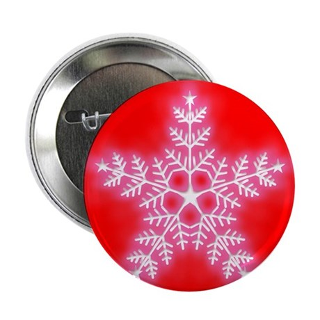 """Red and White Star Snowflake 2.25"""" Button"""