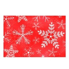 Red and White Snowflake P Postcards (Package of 8)