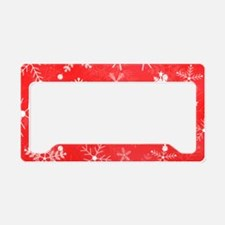 Red and White Snowflake Patte License Plate Holder