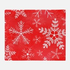 Red and White Snowflake Pattern Throw Blanket
