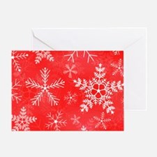Red and White Snowflake Pattern Greeting Card