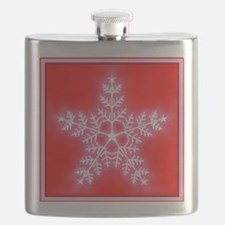 Red and White Star Snowflake Flask