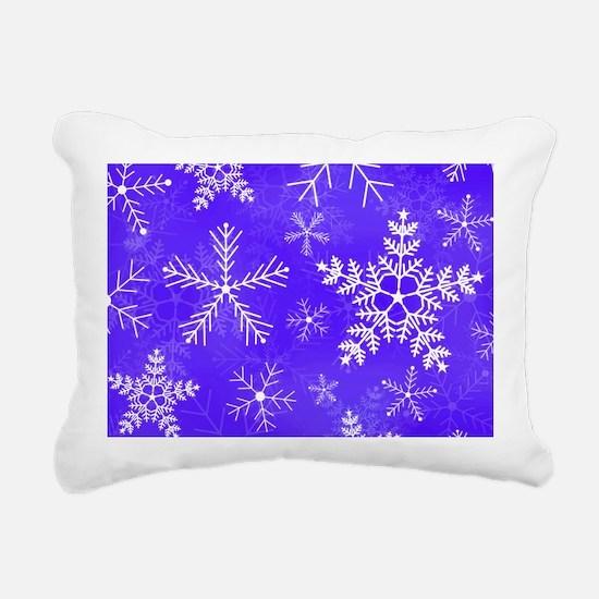Purple and White Snowfla Rectangular Canvas Pillow