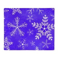 Purple and White Snowflake Pattern Throw Blanket