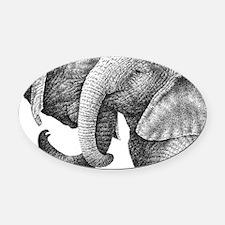 African Elephants 3x5 Rug Oval Car Magnet