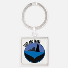 Fins And Fluke Square Keychain