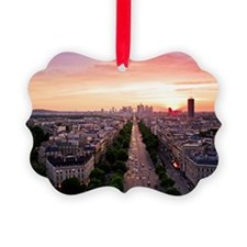 Cityscape at sunset, Pairs, Franc Ornament