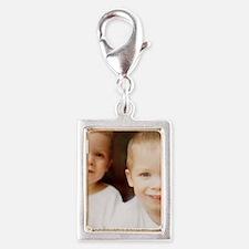 Identical twin boys Silver Portrait Charm