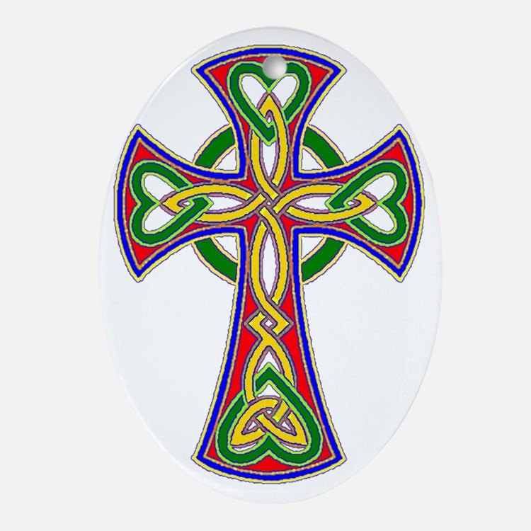 Primary Celtic Cross Oval Ornament