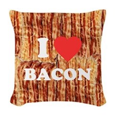 I love Bacon Woven Throw Pillow