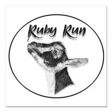 """Ruby Run Oval Square Car Magnet 3"""" x 3"""""""